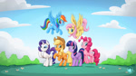 Size: 1920x1080   Tagged: safe, artist:mysticalpha, applejack, fluttershy, pinkie pie, rainbow dash, rarity, twilight sparkle, alicorn, earth pony, pegasus, pony, unicorn, female, flying, grin, jumping, looking at you, mane six, mare, outdoors, raised hoof, rearing, smiling, smiling at you, spread wings, twilight sparkle (alicorn), wallpaper, wings