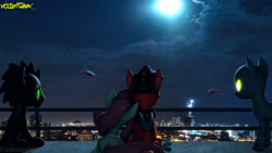 Size: 3840x2160 | Tagged: safe, artist:fireemerald123, oc, oc only, oc:holly berry, oc:page feather, oc:smokey, oc:the voice, pegasus, unicorn, 3d, city, cityscape, gun, handgun, helicopter, night, overlooking, pistol, railing, source filmmaker, void entity, void punk, watermark