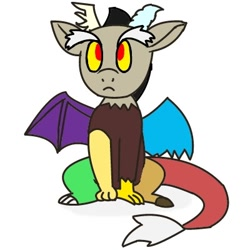 Size: 400x400 | Tagged: safe, artist:kushina13, discord, draconequus, chibi, horns, male, simple background, sitting, solo, spread wings, tail, white background, wings