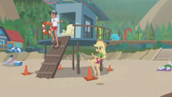Size: 3410x1920   Tagged: safe, screencap, applejack, timber spruce, equestria girls, equestria girls series, turf war, applejack's hat, barefoot, beach, belly button, cowboy hat, eyes closed, feet, female, geode of super strength, hat, high res, jewelry, lifeguard applejack, lifeguard timber, magical geodes, male, necklace, open mouth, smiling
