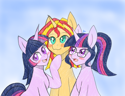 Size: 2200x1700   Tagged: safe, artist:zachc, sci-twi, sunset shimmer, twilight sparkle, pony, unicorn, equestria girls, abstract background, blushing, equestria girls ponified, female, glasses, lesbian, polyamory, scitwishimmer, self ponidox, shipping, sunset twiangle, sunsetsparkle, unicorn sci-twi, unicorn twilight