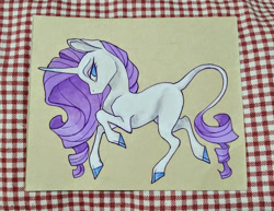Size: 1024x790   Tagged: safe, artist:twixyamber, rarity, classical unicorn, pony, unicorn, female, leonine tail, mare, missing cutie mark, solo, traditional art, unshorn fetlocks