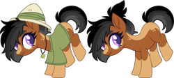 Size: 5533x2472   Tagged: safe, artist:kurosawakuro, oc, earth pony, base used, clothes, female, mare, parent:daring do, parent:quibble pants, scrunchy face, shirt, simple background, solo, transparent background