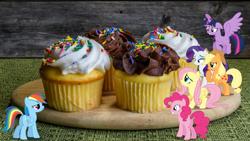Size: 1920x1080 | Tagged: safe, applejack, fluttershy, pinkie pie, rainbow dash, rarity, twilight sparkle, alicorn, earth pony, pegasus, pony, unicorn, butt, cupcake, female, food, irl, mane six, mare, photo, plot, ponies in real life, story included, twilight sparkle (alicorn)