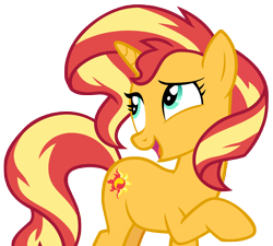 Size: 6916x6228   Tagged: safe, artist:andoanimalia, sunset shimmer, pony, unicorn, equestria girls, equestria girls series, spring breakdown, spoiler:eqg series (season 2), absurd resolution, female, looking back, mare, open mouth, open smile, raised hoof, simple background, smiling, solo, teal eyes, transparent background, vector