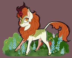 Size: 1000x805 | Tagged: safe, artist:ximsketchs, autumn blaze, kirin, flower, foal's breath, smiling, solo