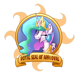 Size: 5000x5000 | Tagged: safe, artist:witchtaunter, princess celestia, alicorn, pony, badge, bust, chest fluff, commission, crown, cute, cutelestia, jewelry, looking at you, one eye closed, open mouth, open smile, regalia, simple background, smiling, smiling at you, solo, transparent background, wink, winking at you