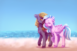 Size: 2183x1429   Tagged: safe, artist:zowzowo, silverstream, oc, hippogriff, beach, blue sky, blushing, commission, couple, cute, hippogriff oc, ocean, romance, sand, shy, snuzzling, walking, wave, wings