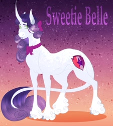 Size: 1782x1978   Tagged: safe, artist:inisealga, sweetie belle, pony, unicorn, :p, abstract background, alternate design, blaze (coat marking), bow, bowtie, cloven hooves, coat markings, curved horn, facial markings, female, gradient background, horn, leonine tail, mare, markings, redesign, solo, tail, text, tongue out