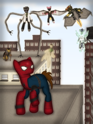 Size: 1750x2331   Tagged: safe, artist:99999999000, earth pony, pegasus, pony, unicorn, city, clothes, doctor octopus, electro, green goblin, kraven the hunter, male, marvel, marvel comics, sandman, sinister six, spider-man, the vulture