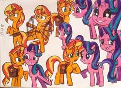 Size: 750x545 | Tagged: safe, artist:karadeg, starlight glimmer, sunset shimmer, equestria girls, mirror magic, spoiler:eqg specials, bipedal, traditional art