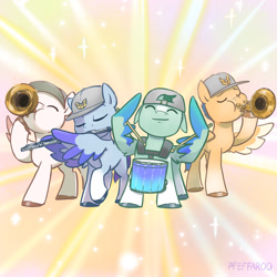 Size: 2048x2048 | Tagged: safe, artist:pfeffaroo, zoom zephyrwing, pegasus, pony, g5, drums, flute, guard, musical instrument, trumpet, younger