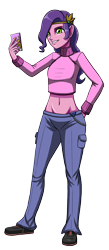 Size: 1312x3000 | Tagged: safe, artist:artemis-polara, pipp petals, equestria girls, g5, belly button, cellphone, clothes, equestria girls-ified, g5 to equestria girls, pants, phone, shirt, shoes, simple background, smiling, solo, sweater, transparent background, turtleneck