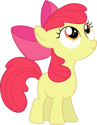 Size: 8000x10296 | Tagged: safe, artist:myardius, apple bloom, earth pony, female, filly, looking up, simple background, smiling, solo, transparent background, vector