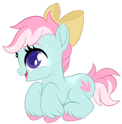 Size: 2209x2246 | Tagged: safe, artist:sorasku, oc, oc:dino dig, earth pony, pony, bow, female, filly, hair bow, lying down, prone, simple background, solo, transparent background