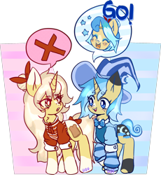 Size: 1600x1741   Tagged: safe, artist:ube, artist:ubebreb, oc, oc only, oc:bippity boppity, oc:french toast, pony, unicorn, pony town, clothes, female, hat, horn, mage, manga style, siblings, sisters, speech bubble, unicorn oc, witch hat, wizard