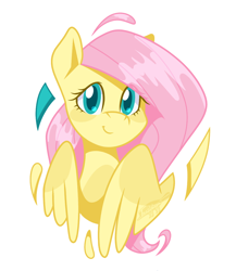 Size: 1000x1150 | Tagged: safe, artist:imaplatypus, fluttershy, pegasus, pony, bust, cute, female, looking at you, mare, portrait, shyabetes, simple background, smiling, solo, three quarter view, white background, wings