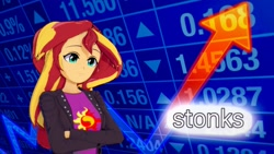 Size: 1920x1080 | Tagged: safe, artist:anonymous, sunset shimmer, equestria girls, 3d, clothes, female, jacket, koikatsu, shirt, smiling, solo, stonks