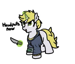 Size: 743x631 | Tagged: safe, artist:neuro, oc, oc only, pony, unicorn, fallout equestria, clothes, jacket, knife, pipbuck, solo