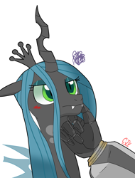 Size: 1836x2420 | Tagged: safe, artist:cjv2004, queen chrysalis, changeling, changeling queen, pony, angry, blushing, crossover, female, megatron, robot hand, shipping, transformers