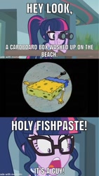 Size: 853x1516   Tagged: safe, artist:cyber-murph, screencap, sci-twi, twilight sparkle, equestria girls, equestria girls series, unsolved selfie mysteries, beach, binoculars, clothes, glasses, horrified, meme, ponytail, reference, shocked, shocked expression, spongebob reference, spongebob squarepants, spongebob squarepants (character), swimsuit