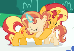 Size: 1577x1091 | Tagged: safe, artist:starshinestellaryt, sunset shimmer, oc, pony, eyes closed, female, filly, glowing, glowing horn, horn, hug, magic, mother and child, mother and daughter, parent:sunset shimmer, smiling