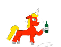 Size: 1024x788 | Tagged: safe, artist:horsesplease, sprout (g5), g5, my little pony: a new generation, alcohol, beer, bottle, drunk, hat, party hat, puddle, sad, sad sprout, upset