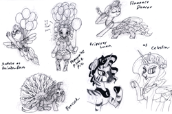 Size: 1200x797 | Tagged: safe, artist:sepiakeys, pinkie pie, princess celestia, princess luna, rarity, scootaloo, zecora, balloon, clothes, cosplay, costume, it, monochrome, peacock feathers, pennywise, traditional art