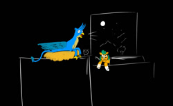 Size: 1024x631 | Tagged: safe, artist:horsesplease, gallus, hitch trailblazer, griffon, g5, angry, bed, behaving like a bird, crowing, derp, doodle, gallus the rooster, griffons doing bird things, moon, night