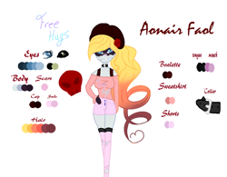 Size: 1036x808 | Tagged: safe, artist:aonairfaol, oc, oc only, equestria girls, beanie, clothes, equestria girls-ified, female, hat, reference sheet, shorts, simple background, smiling, solo, white background