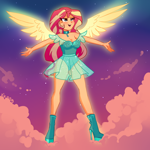 Size: 2000x2000 | Tagged: safe, artist:xjenn9, sunset shimmer, series:my past is not today, equestria girls, boots, clothes, high heel boots, redesign, see-through, see-through skirt, shoes, skirt, solo, sunset phoenix, winged humanization, wings