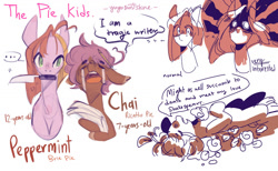 Size: 1600x988 | Tagged: safe, artist:yuyusunshine, oc, oc only, oc:chai ricatto, oc:peppermint brie, earth pony, pony, female, knife, male, mouth hold, offspring, parent:cheese sandwich, parent:pinkie pie, parents:cheesepie