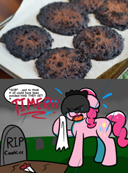 Size: 1024x1389 | Tagged: safe, artist:tranzmuteproductions, pinkie pie, earth pony, pony, baking, baking judge pinkie, bouquet of flowers, burnt, comic, cookie, crying, dialogue, emanata, eyes closed, female, floppy ears, food, funeral, gravestone, graveyard, handkerchief, mare, open mouth, photo, rain, rest in peace, sobbing, solo, teary eyes, veil