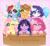 Size: 1200x1100 | Tagged: safe, artist:saltyvity, applejack, fluttershy, pinkie pie, rainbow dash, rarity, twilight sparkle, fluffy pony, pegasus, pony, unicorn, applejack's hat, balloon, big eyes, box, boxing, cowboy hat, cute, fluffy, hat, mane six, pinkamena diane pie, rainbow, sparkles, sports