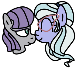 Size: 1000x900   Tagged: safe, artist:jadethepegasus, maud pie, sugarcoat, earth pony, pony, boop, equestria girls ponified, eyes closed, eyeshadow, female, glasses, lesbian, makeup, mare, maudcoat, noseboop, ponified, shipping, simple background, transparent background
