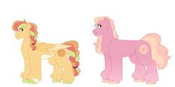 Size: 1280x640   Tagged: safe, artist:itstechtock, oc, oc:melon ball, oc:peach cobbler, earth pony, pony, female, magical lesbian spawn, mare, offspring, parent:applejack, parent:big macintosh, parent:cheerilee, parent:rainbow dash, parents:appledash, parents:cheerimac, simple background, white background