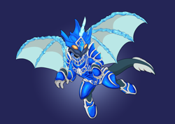 Size: 10912x7712   Tagged: safe, artist:imposter dude, oc, dragon, half-dragon, half-pony, pony, armor, commission, full armor, hydrid, ice horn, ice wings, male, simple background, solo