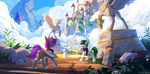 Size: 3000x1471 | Tagged: safe, artist:redchetgreen, oc, oc only, oc:vuldarion, oc:zenith night, pegasus, pony, unicorn, butt, canterlot, clothes, duo, high res, horn, mountain, open mouth, pegasus oc, plot, scenery, scenery porn, statue, unicorn oc