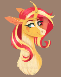 Size: 697x882 | Tagged: safe, artist:wanderingpegasus, sunset shimmer, pony, unicorn, brown background, chest fluff, curved horn, cute, female, horn, mare, markings, redesign, shimmerbetes, simple background, solo, sunset shimmer day