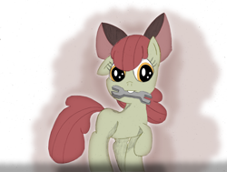 Size: 1100x832   Tagged: safe, artist:someblockhead, apple bloom, earth pony, female, filly, mouth hold, solo, wrench