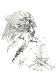 Size: 1000x1293 | Tagged: safe, artist:baron engel, princess luna, alicorn, anthro, unguligrade anthro, female, mare, monochrome, pencil drawing, pirate, traditional art