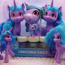 Size: 1158x1159 | Tagged: safe, photographer:g5mlp, photographer:imiya, izzy moonbow, g5, brushable, merchandise, multeity, my little pony logo, plushie, text, toy, unicorn snot