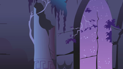 Size: 1280x720 | Tagged: safe, screencap, friendship is magic, background, castle of the royal pony sisters, flower, night, no pony, scenic ponyville, sky, stars, window