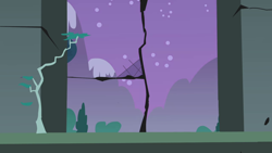 Size: 1280x720 | Tagged: safe, screencap, friendship is magic, background, castle of the royal pony sisters, mountain, night, no pony, scenic ponyville, stars, tree, window