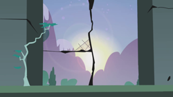 Size: 1280x720 | Tagged: safe, screencap, friendship is magic, background, castle of the royal pony sisters, mountain, no pony, scenic ponyville, sun, sunrise, window
