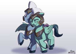 Size: 2400x1720 | Tagged: safe, artist:kam, zoom zephyrwing, pegasus, g5, armor, female, guard, guardsmare, male, mare, royal guard, shipping, straight, thunder (g5)
