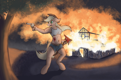 Size: 3886x2568 | Tagged: safe, artist:reddthebat, applejack, earth pony, anthro, blood, bullet wound, burning the evidence, colt single action army, fire, fire axe, gun, handgun, night, revolver, solo, weapon