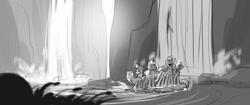 Size: 1920x804 | Tagged: safe, artist:rohana mentz, hitch trailblazer, izzy moonbow, pipp petals, sunny starscout, zipp storm, earth pony, pegasus, pony, unicorn, g5, my little pony: a new generation, behind the scenes, female, grayscale, male, mane five (g5), mare, monochrome, raft, stallion, storyboard, waterfall
