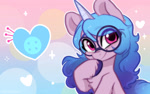 Size: 1920x1200 | Tagged: safe, alternate version, artist:colorfulcolor233, izzy moonbow, pony, unicorn, g5, bust, chest fluff, cute, cutie mark, female, glasses, heart, hoof on chin, izzybetes, looking at you, mare, round glasses, smiling, solo