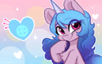 Size: 1920x1200 | Tagged: safe, artist:colorfulcolor233, izzy moonbow, pony, unicorn, g5, bust, chest fluff, cute, cutie mark, female, heart, izzybetes, mare, solo